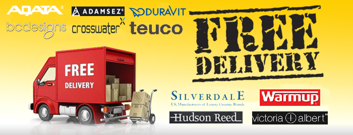 FREE delivery on top brands like Adamsez, Teuco, Crosswater, Aqata Showers, Silverdale Bathrooms and many more