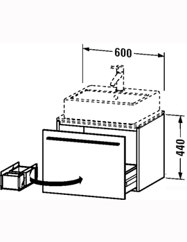 Duravit X-Large 600 x 478mm Vanity Unit For Console  By Duravit