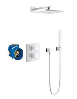 Grohe Cube Thermostatic Mixer 230mm Shower Head and Cube Hand Shower Set By Grohe