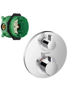 hansgrohe shower valve. Hansgrohe Ecostat S Thermostatic Mixer With Shut Off Valve And IBox Shower