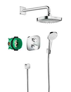 hansgrohe shower pack shower sets shower kit thermostatic shower rail set contemporary. Black Bedroom Furniture Sets. Home Design Ideas