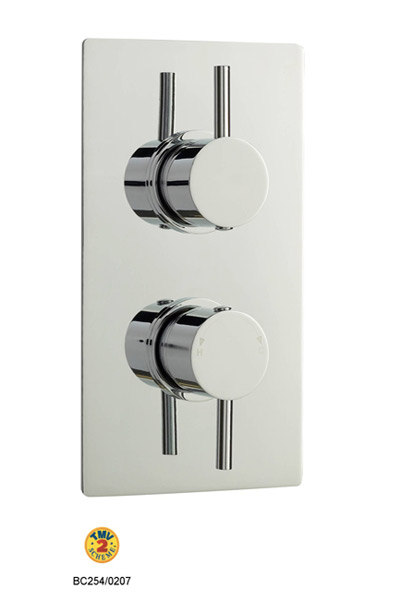 Home of Ultra Quest Square Plate Thermostatic Twin Shower Valve  By Home of Ultra