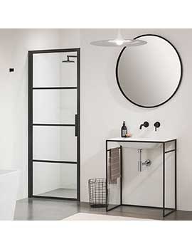 Impey Soho Pivot Door Black Shower Enclosure - Left By Impey