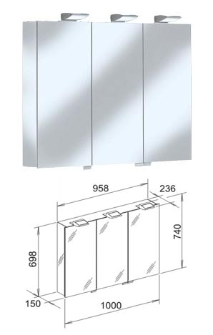 Keuco royal 35 mirror cabinet 1000mm for Kitchen cabinets 1000mm