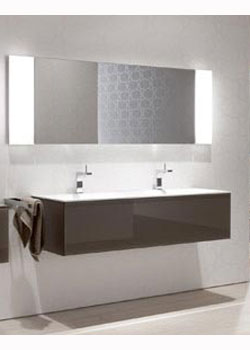 keuco edition 11 vanity unit 1400mm for varicor double bowl with led - Bathroom Cabinets Keuco